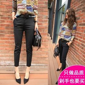 特价黑色西裤女九分裤夏季修身显瘦薄款休闲西装小脚裤