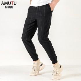 男宽松裤子休闲裤夏季薄款潮流小脚裤弹力运动透气束脚