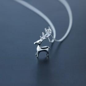纯银森系一鹿有你鹿项链