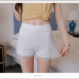 2019夏新蕾丝花边三分打底裤时尚可外穿短裤双层蕾