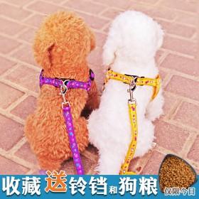 小狗狗牵引绳泰迪狗链子比熊博美幼犬套脚小型犬遛狗绳