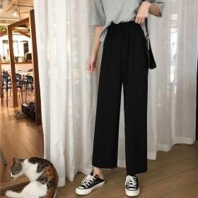 黑色裤子女宽松直筒阔腿裤夏季松紧九分裤学生韩版高腰