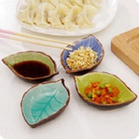 陶瓷冰裂釉调料酱油醋小碟子花卉不规则树叶造型中式田