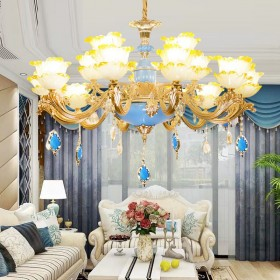 欧式水晶吊灯客厅吊灯大气奢华锌合金餐厅吊灯卧室书房