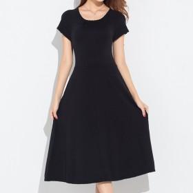 针织连衣裙女圆领短袖修身显瘦纯色休闲打底春秋新品