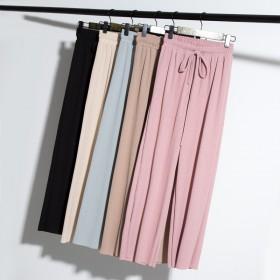 夏季针织阔腿女裤高腰显瘦松紧腰宽松夏薄款冰丝裤子