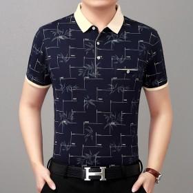 夏季新款男装短袖T恤翻领宽松薄款棉半袖体恤上衣装