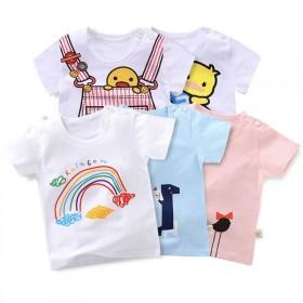 2019夏季新品儿童短袖体恤0-7男女童单上衣童装