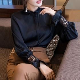 雪纺衫女长袖春季新款韩版蕾丝小衫立领宽松上衣喇叭袖