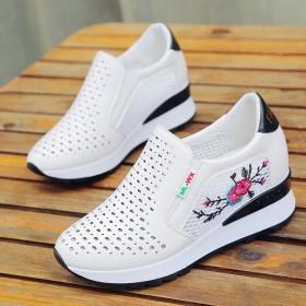 新款小白鞋女内增高网面小白鞋女夏韩版休闲运动鞋女洞