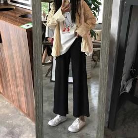阔腿裤春夏女装女韩版宽松直筒裤九分裤休闲裤黑色裤子