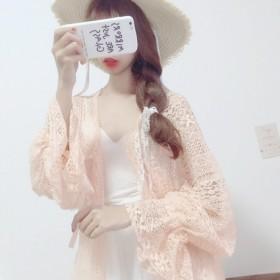 2019夏女装韩版可爱少女蕾丝宽松灯笼袖长袖中长款