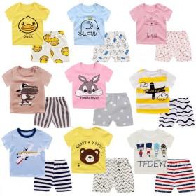 儿童短袖套装0-3岁卡通图男女童t恤棉短袖短裤两件