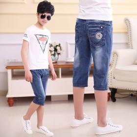 童装男童短裤薄款儿童牛仔七分裤中大童中裤子