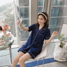 睡衣女夏季丝绸短袖两件套装薄款韩版宽松性感情侣家居