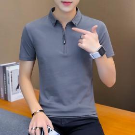 夏季男士纯棉Polo衫短袖韩版青年修身休闲翻领T恤