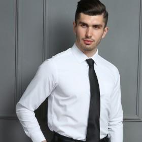GW白色商务衬衫男士工装衬衣长袖职业衬衣透气宽松修