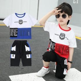 新款时尚潮流中小童宝宝短袖拼接套装两件套