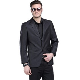 剪标品牌男士修身竖条纹剪标西装西服