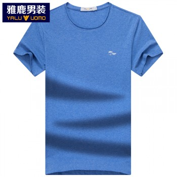 雅鹿男士短袖T恤夏季青年时尚圆领T恤