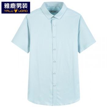 雅鹿夏季新款纯色薄款短袖棉衬衫