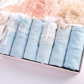 6条纯棉女士内裤礼盒装蝴蝶结边