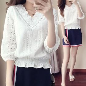 蕾丝上衣女春季新款韩版女装显瘦女式小衫超仙内搭打底