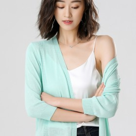 大码冰丝针织开衫女中长款宽松夏季七分袖防晒衣