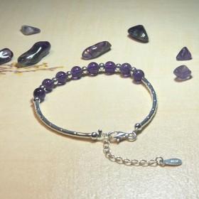 纯天然石榴石草莓晶紫水晶女士手链