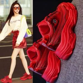 炫彩红色老爹鞋女夏厚底运动跑步鞋