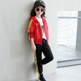 女童运动套装中大童时尚连帽卫衣两件套时髦休闲装