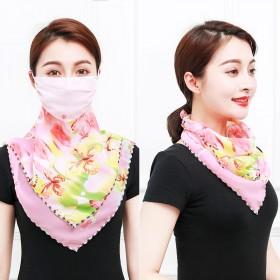 防晒口罩防紫外线防晒三角丝巾