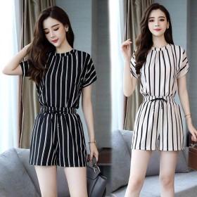 黑白条纹套装女时尚两件套2019女装韩版短袖休闲短