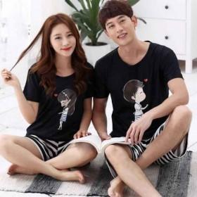 夏短袖睡衣情侣女士韩版男士加大码两件套装休闲家居服