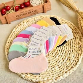 夏季糖果色魔术女士船袜 天鹅绒透气隐形袜
