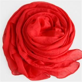 丝巾女春秋雪纺纯色大红纱巾沙滩巾红色丝巾