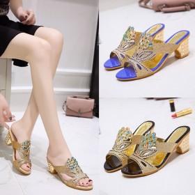 凉拖鞋女学生韩版凉鞋坡跟粗跟夏季中跟水钻时尚百搭女