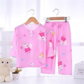 夏季儿童棉绸睡衣男童女孩1-10岁宝宝薄款长袖