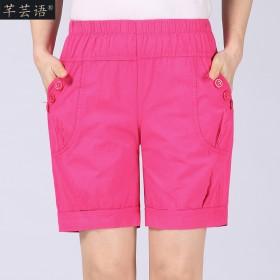 中老年女装休闲短裤夏季宽松纯棉妈妈裤
