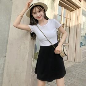 夏季新款连衣裙超仙甜美韩版学生圆领气质拼接半袖短裙