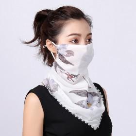 夏季口罩时尚印花女大护颈防晒丝巾面罩遮阳围脖