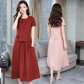 棉麻两件套连衣裙2019新款夏装韩版宽松大码套装裙