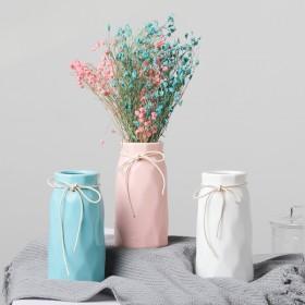 欧式小清新陶瓷花瓶简约现代白蓝粉色家居客厅卧室摆件