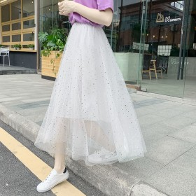 星星网纱裙美仙女中长款半身裙2019抖音同款大摆裙