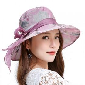 大檐太阳帽夏季新款韩版可折叠蝴蝶结遮阳防晒帽