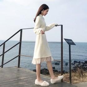 春季新款显瘦长裙子学生毛绒裙过膝中长款打底裙法国小