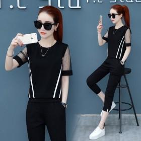 2019运动服套装女夏装新款韩版宽松大码上衣拼接网