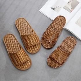 竹编藤草拖鞋夏季男女防滑凉拖家居室内木地板草席吸汗