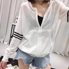 春夏季防晒衣女学生韩版针织开衫显瘦拼色连帽拉链外套