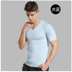 男士短袖冰丝t恤宽松大码纯色无痕打底衫V领速干上一